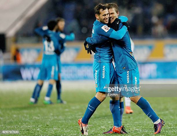 Aleksandr Kokorin of FC Zenit St Petersburg celebrates his goal with Aleksandr Kerzhakov of FC Zenit St Petersburg during the Russian Football League...