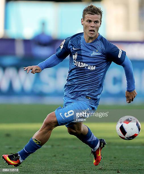 Aleksandr Kokorin of FC Zenit St Petersburg in action during the Russian Football League match between FC Zenit St Petersburg and FC Amkar Perm at...
