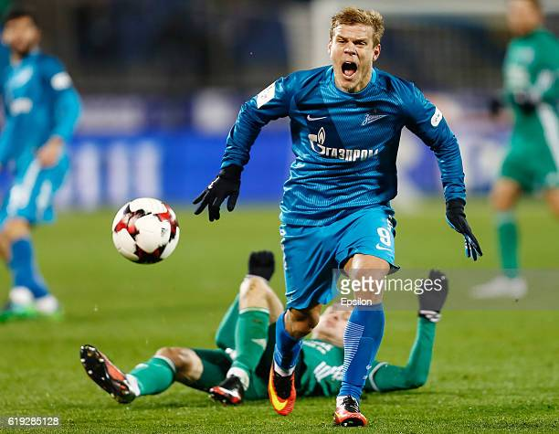 Aleksandr Kokorin of FC Zenit St Petersburg reacts during the Russian Football League match between FC Zenit St Petersburg and FC Tom Tomsk at...
