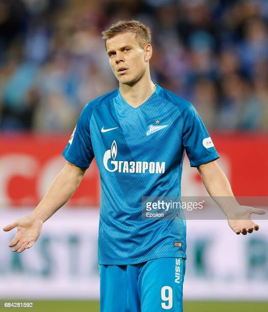 Aleksandr Kokorin of FC Zenit St Petersburg reacts during the Russian Football League match between FC Zenit St Petersburg and FC Krasnodar at...