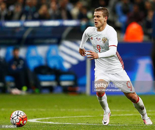 Aleksandr Kokorin of Russia in action during the International Friendly match between France and Russia held at Stade de France on March 29 2016 in...
