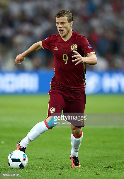 Aleksandr Kokorin of Russia in action during the UEFA EURO 2016 Group B match between England and Russia at Stade Velodrome on June 11 2016 in...