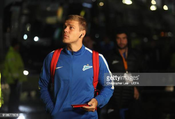 Aleksandr Kokorin of Zenit arrives during UEFA Europa League Round of 32 match between Celtic and Zenit St Petersburg at the Celtic Park on February...