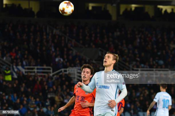 Aleksandr Kokorin of Zenit duels for the ball with Alvaro Odriozola of Real Sociedad during the UEFA Europa League Group L football match between...