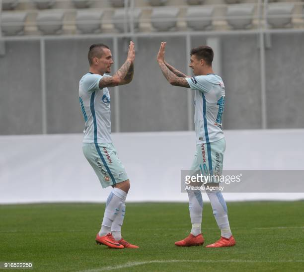 Aleksandr Kokorin of Zenit St Petersburg celebrates after a goal during a friendly match between Slovenia's Maribor and Russia's Zenit St Petersburg...