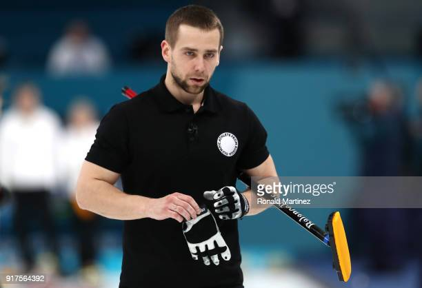 Aleksandr Krushelnitckii of Olympic Athletes from Russia looks on against Norway during the Curling Mixed Doubles Bronze Medal Game on day four of...