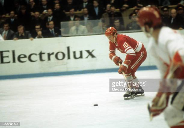 Aleksandr Maltsev of the Soviet Union skates with the puck during the 1972 Summit Series against Canada in September 1972 at the Luzhniki Ice Palace...