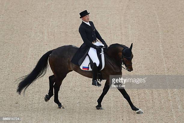 Aleksandr Markov of Russia riding Kurfurstin competes in the Eventing Team Dressage event during equestrian on Day 2 of the Rio 2016 Olympic Games at...