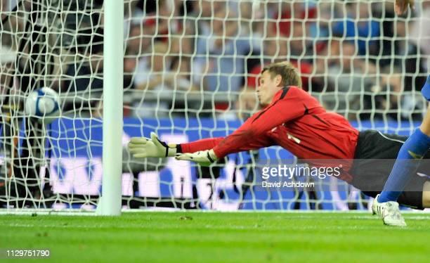 Aleksandr Mokin Kazakhstan goalkeeper fails to stop a ball from Wayne Rooney fro a goal England v Kazakhstan FIFA World Cup Europe group qualifier at...