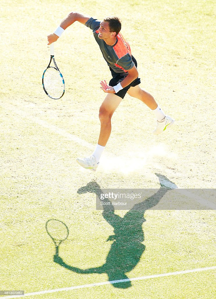 Aleksandr Nedovyesov of Kazakhstan serves during the reverse singles match between Lleyton Hewitt of Australia and Aleksandr Nedovyesov of Kazakhstan during day three of the Davis Cup World Group quarterfinal tie between Australia and Kazakhstan at Marrara Sporting Complex on July 19, 2015 in Darwin, Australia.