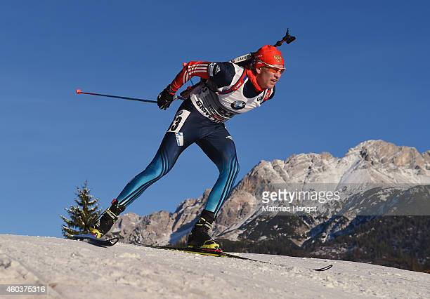 Aleksandr Pechenkin of Russia of France competes in the men's 10 km sprint event during the IBU Biathlon World Cup on December 12 2014 in Hochfilzen...