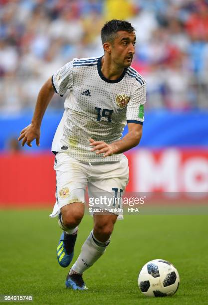 Aleksandr Samedov of Russia in action during the 2018 FIFA World Cup Russia group A match between Uruguay and Russia at Samara Arena on June 25 2018...