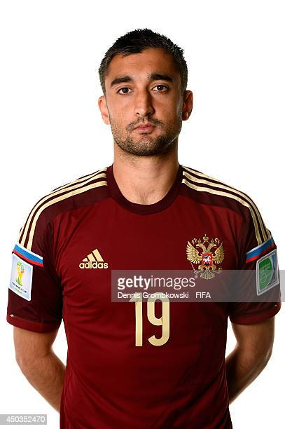 Aleksandr Samedov of Russia poses during the Official FIFA World Cup 2014 portrait session on June 9 2014 in Sao Paulo Brazil