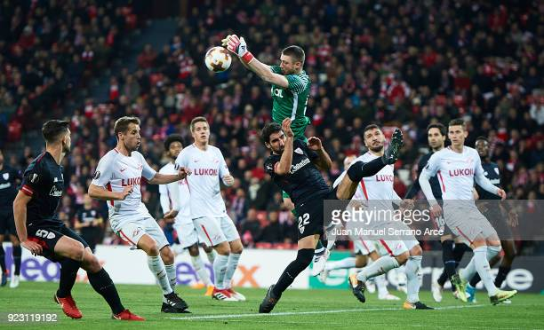 Aleksandr Selikhov of FC Spartak Moskva blocks a shoot during UEFA Europa League Round of 32 match between Athletic Bilbao and Spartak Moscow at the...