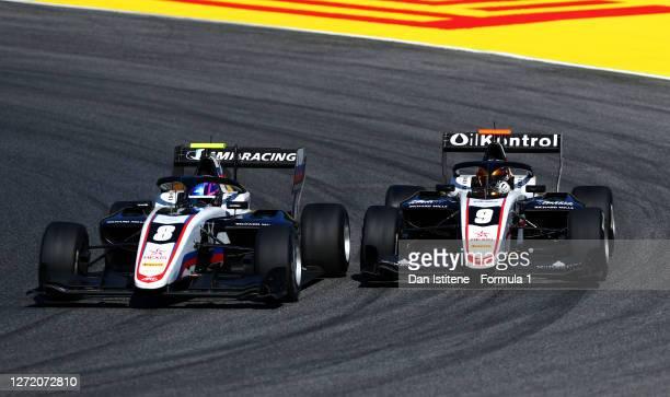 Aleksandr Smolyar of Russia and ART Grand Prix and Sebastian Fernandez of Spain and ART Grand Prix drive on track during the Formula 3 Championship...