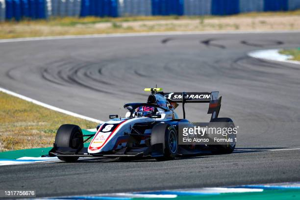 Aleksandr Smolyar of Russia and ART Grand Prix drives during day two of Formula 3 Testing at Circuito de Jerez on May 13, 2021 in Jerez de la...
