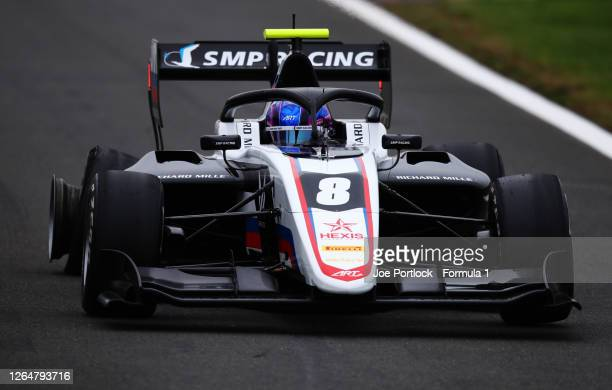 Aleksandr Smolyar of Russia and ART Grand Prix gets a puncture during race two of the Formula 3 Championship at Silverstone on August 09, 2020 in...