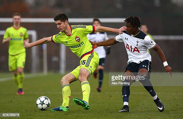 Aleksandr Stanisavlevich of CSKA Moskva and Kazaiah Sterling of Tottenham Hotspur battle for possesion during the UEFA Youth Champions League match...