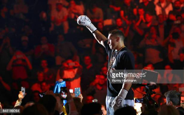 Aleksandr Usyk of Ukraine enters the ring prior to the WBO Cruiserweight World Boxing Super Series fight against Marco Huck of Germany at Max...