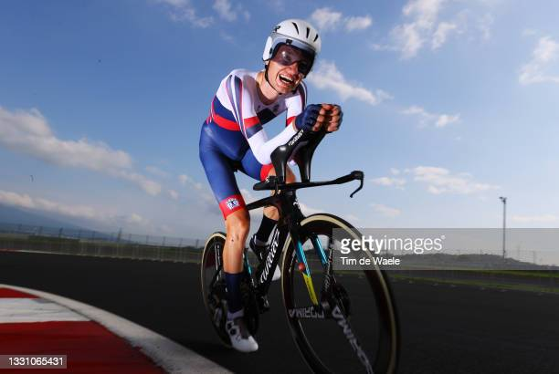 Aleksandr Vlasov of Team ROC rides during the Men's Individual time trial on day five of the Tokyo 2020 Olympic Games at Fuji International Speedway...