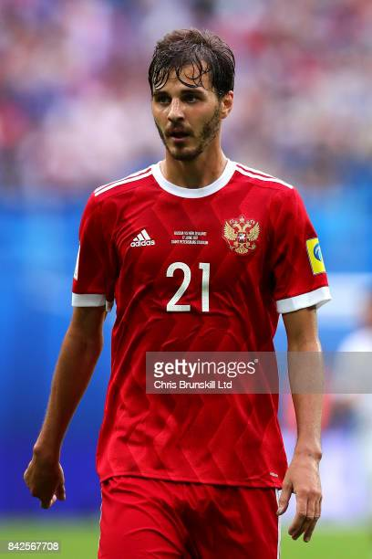 Aleksandr Yerokhin of Russia looks on during the FIFA Confederations Cup Group A match between Russia and New Zealand at Saint Petersburg Stadium on...