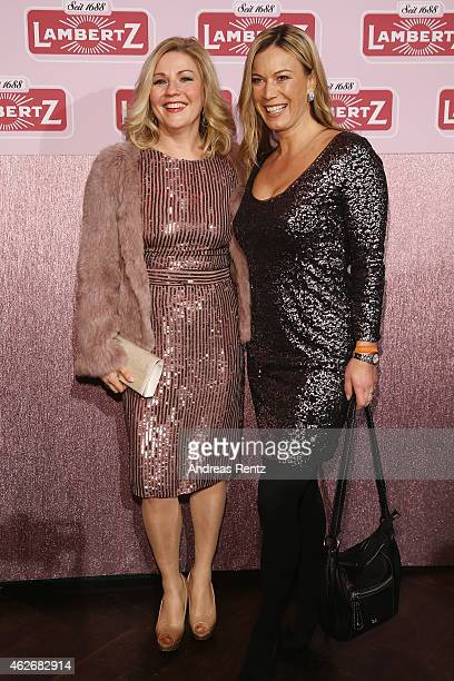 Aleksandra Bechtel and guest arrive for the Lambertz Monday Night 2015 at Alter Wartesaal on February 2 2015 in Cologne Germany