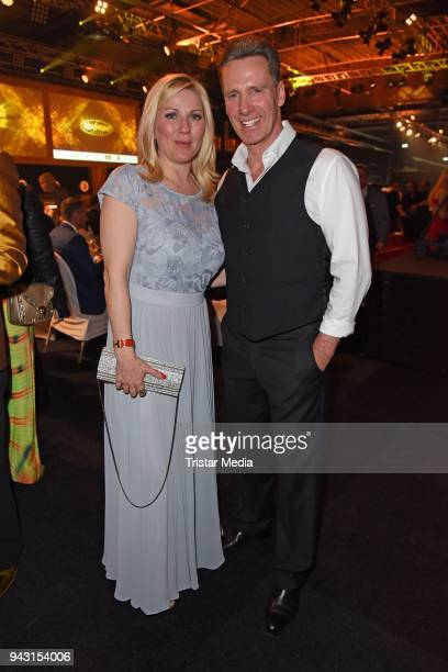 Aleksandra Bechtel and Juergen Milski attend the 'Goldene Sonne 2018' Award by SonnenklarTV on April 7 2018 in Kalkar Germany