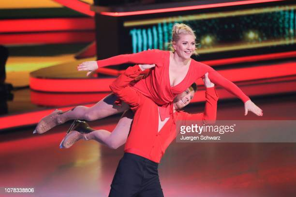 Aleksandra Bechtel and Matti Landgraf perform during the 1st live show of the new dance competition television series 'Dancing on Ice' at MMC Studios...
