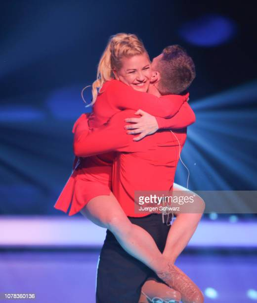 Aleksandra Bechtel hugs Matti Landgraf during the 1st live show of the new dance competition television series 'Dancing on Ice' at MMC Studios on...