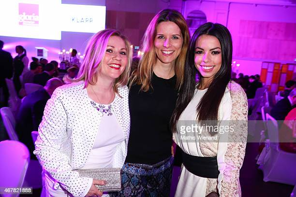 Aleksandra Bechtel Miriam Lange and Fernanda Brandao attend the Gloria Deutscher Kosmetikpreis 2015 at Hilton Hotel on March 27 2015 in Duesseldorf...