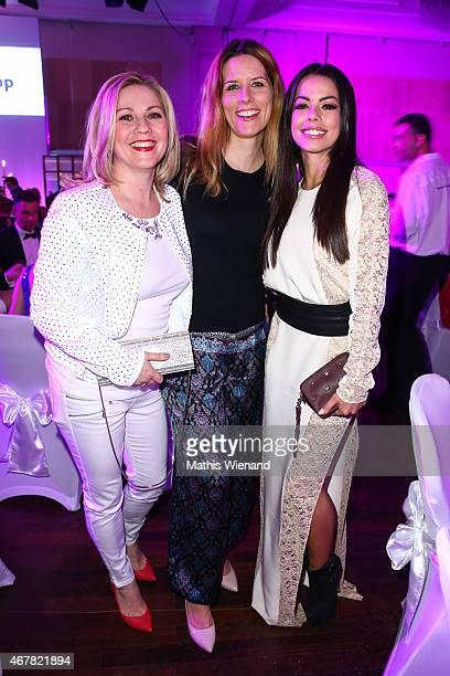 Aleksandra Bechtel, Miriam Lange and Fernanda Brandao attend the Gloria - Deutscher Kosmetikpreis 2015 at Hilton Hotel on March 27, 2015 in...