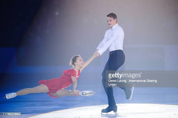 Aleksandra Boikova and Dimitrii Kozlovskii of Russia skate in the exhibition program on the final day of the ISU Grand Prix of Figure Skating Canada...