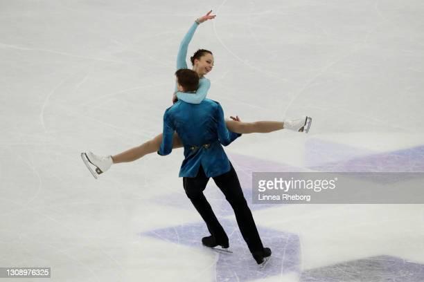 Aleksandra Boikova and Dmitrii Kozlovskii of Figure Skating Federation of Russia perform in the Pairs Short Program during the ISU World Figure...