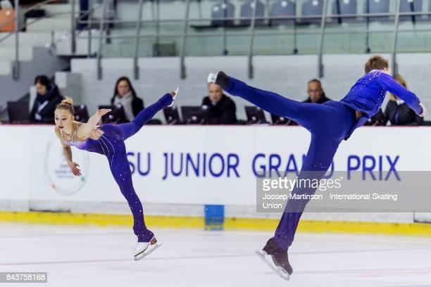 Aleksandra Boikova and Dmitrii Kozlovskii of Russia compete in the Junior Pairs Short Program during day 1 of the Riga Cup ISU Junior Grand Prix of...