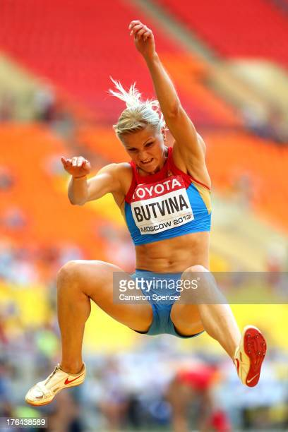 Aleksandra Butvina of Russia competes in the Women's Heptathlon Long Jump during Day Four of the 14th IAAF World Athletics Championships Moscow 2013...