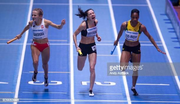 Aleksandra Gaworska from Poland Anastasiya Bryzhina from the Ukraine and Anastasia LeRoy from Jamaica during Round 1 of the Women's 4x400m Relay on...