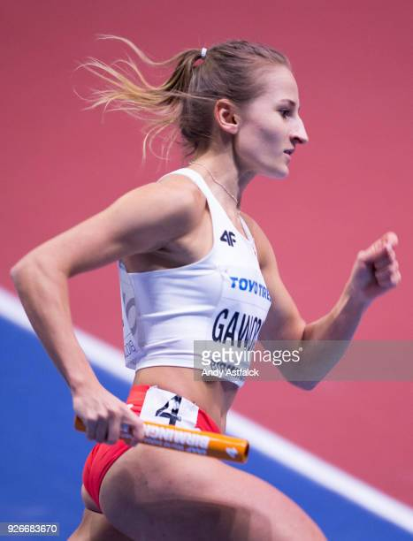 Aleksandra Gaworska from Poland during Round 1 of the Women's 4x400m Relay on Day 3 of the IAAF World Indoor Championships at Arena Birmingham on...