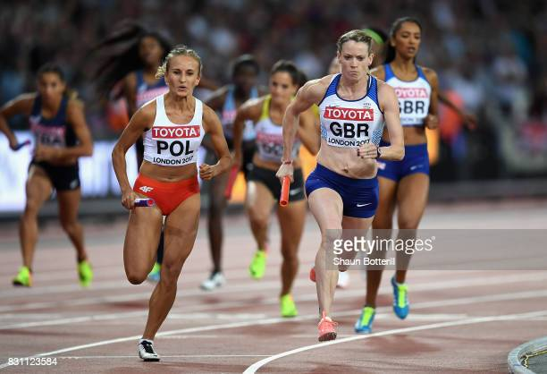 Aleksandra Gaworska of Poland and Eilidh Doyle of Great Britain during the Women's 4x400 Metres Relay final during day ten of the 16th IAAF World...