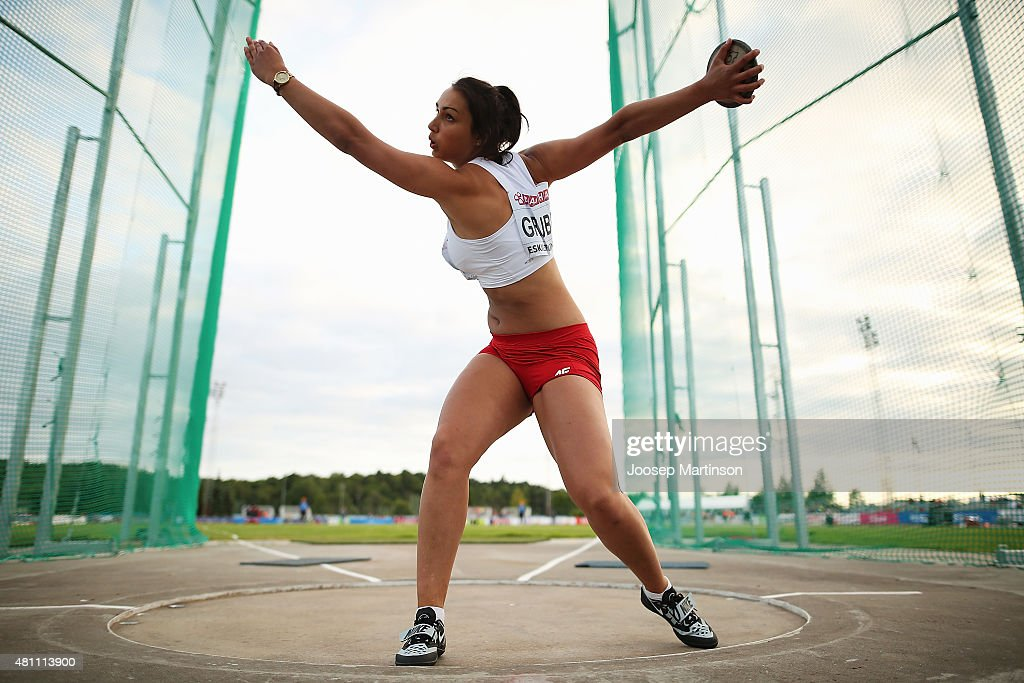 Aleksandra Grubba of Poland competes during the Women's Discus Throw final at Ekangen Arena on July 17, 2015 in Eskilstuna, Sweden.