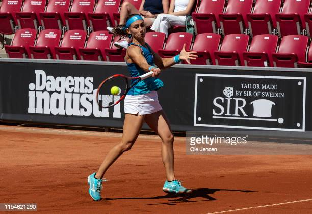 Aleksandra Krunic Caijsa of Serbia during her match with Hennemann of Sweden at day one of 2019 Swedish Open WTA on July 08 2019 in Bastad Sweden