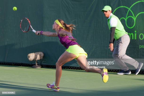 Aleksandra Krunic competes during the qualifying round of the 2018 Miami Open on March 20 at Tennis Center at Crandon Park in Key Biscayne FL