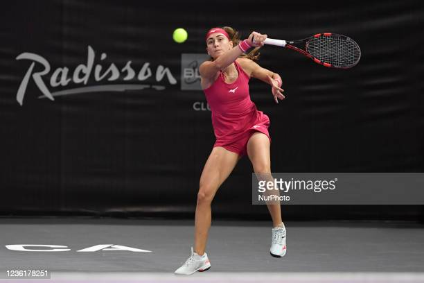 Aleksandra Krunic in action receiving the ball during the double's match with Lesley Pattinama Kerkhove against Jaqueline Cristian and Alison Van...