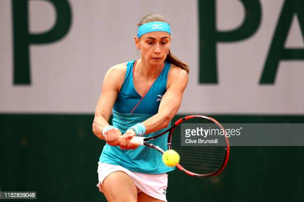 Aleksandra Krunic of Sebia plays a backhand during her ladies singles second round match against Lesia Tsurenko of Ukraine during Day six of the 2019...