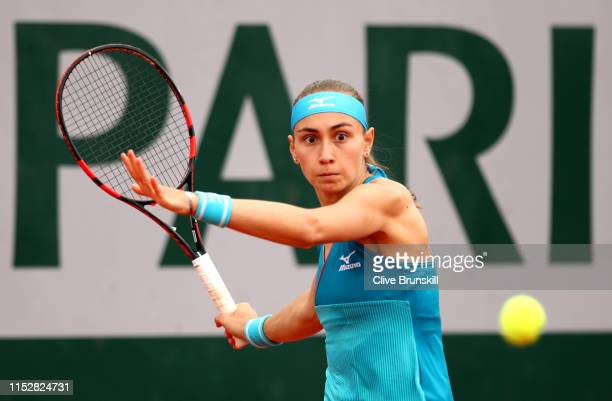 Aleksandra Krunic of Sebia plays a forehand during her ladies singles second round match against Lesia Tsurenko of Ukraine during Day six of the 2019...