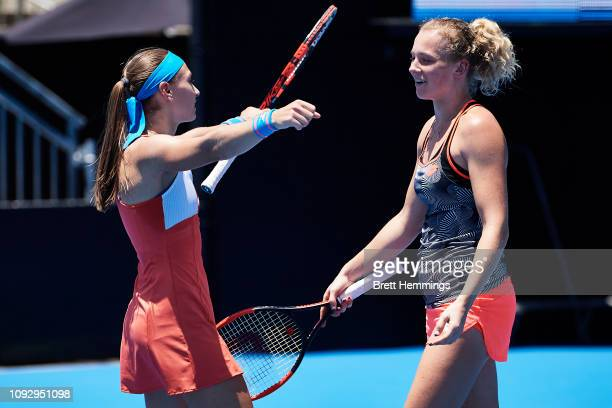 Aleksandra Krunic of Serbia and Katerina Siniakova of Czech celebrate victory after winning the Womens Doubles Final during day seven of the 2019...