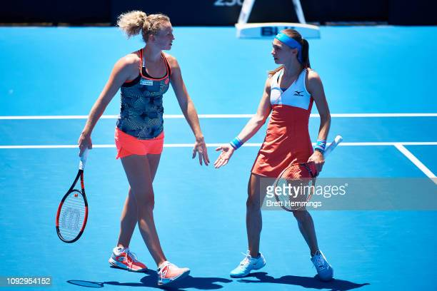 Aleksandra Krunic of Serbia and Katerina Siniakova of Czech celebrate winning a point in the Womens Doubles Final during day seven of the 2019 Sydney...