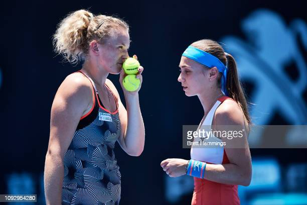 Aleksandra Krunic of Serbia and Katerina Siniakova of Czech celebrate speak between points in the Womens Doubles Final during day seven of the 2019...