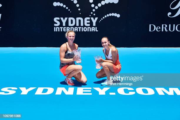 Aleksandra Krunic of Serbia and Katerina Siniakova of Czech Rebpublic pose with their trophy after winning the Womens Doubles Final during day seven...