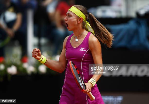 Aleksandra Krunic of Serbia celebrates during the Women's singles first round match against Roberta Vinci of Italy on day two of the Internazionali...