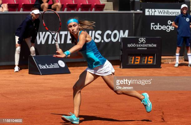 Aleksandra Krunic of Serbia competes against Johanna Larsson of Sweden during day four of the 2019 Swedish Open WTA on July 11 2019 in Bastad Sweden...